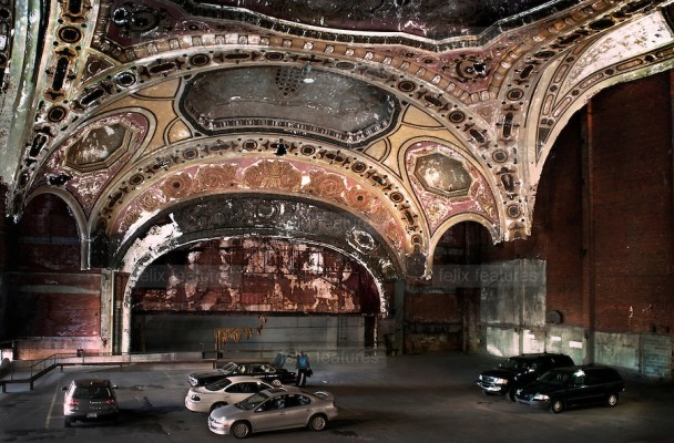 The once opulent Michigan Theatre in Detroit, now repurposed as a parking garage. Photo credit: http://www.odditycentral.com/travel/americas-most-artistic-parking-garage.html